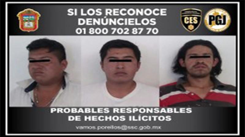 Detienen a tres sujetos por presuntos delitos contra la salud