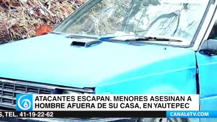 Menores de edad asesinaron a un hombre dentro de su auto en Yautepec