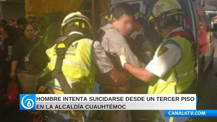 Hombre intenta suicidarse desde un tercer piso en la alcaldía Cuauhtémoc