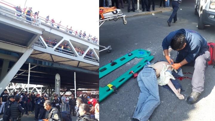Hombre se arroja de puente en Metro Iztacalco