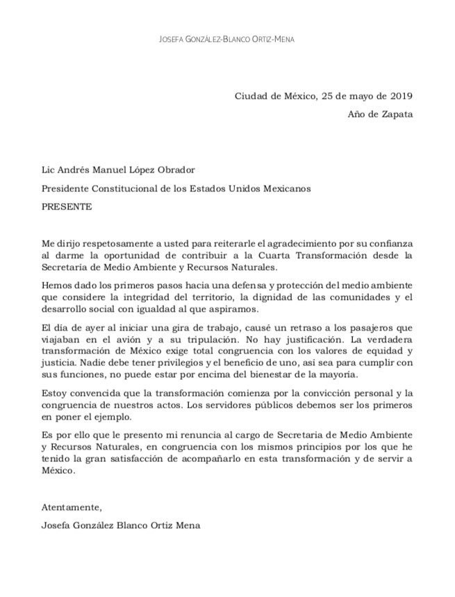Renuncia Josefa González, titular de Semarnat