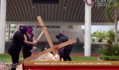 Diócesis de Tabasco critica a grupos feministas durante viacrucis