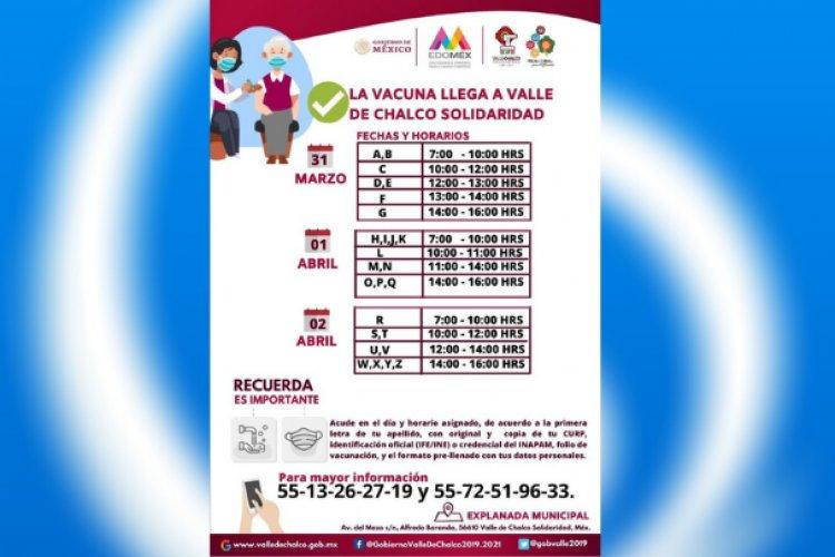 Valle de Chalco inicia jornada de vacunación este miércoles