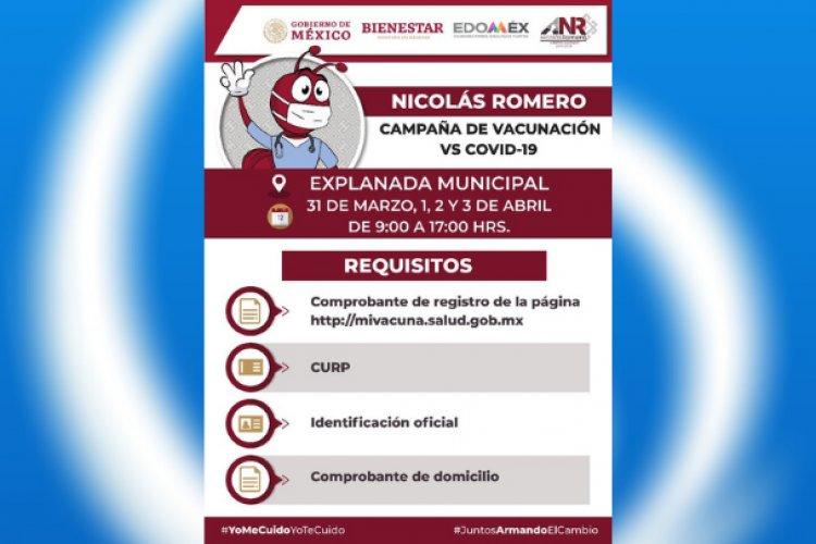 Conoce los detalles de la vacunación en Nicolás Romero