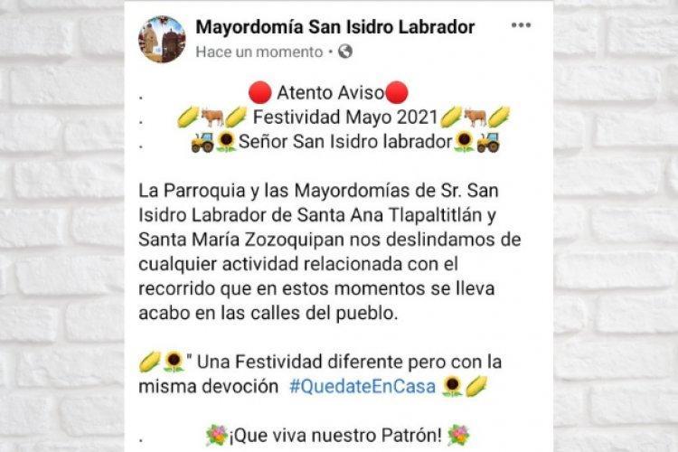 Evaden pandemia y realizan paseo en honor a San Isidro en Toluca