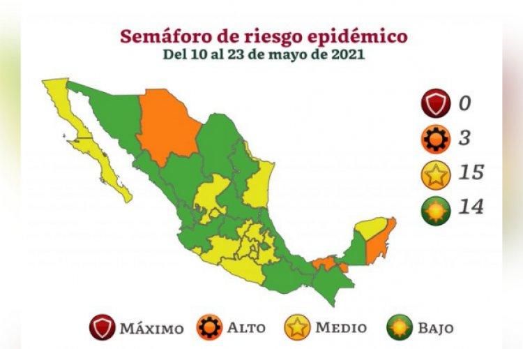 14 estados avanzan a verde en semáforo Covid; ninguno está en rojo