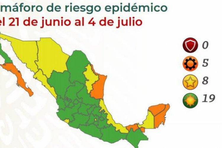 Semáforo Covid: 19 estados se colocan en verde y ocho en amarillo