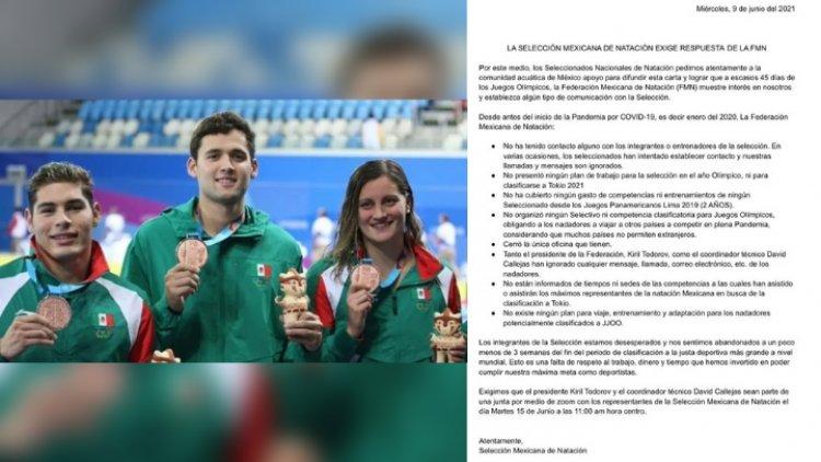 Juegos Olímpicos 2021: Selección Mexicana de Natación denuncia estar en el olvido