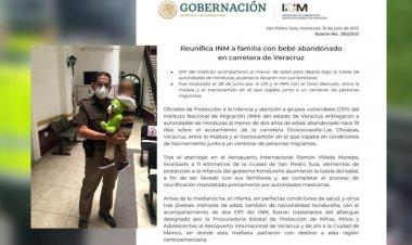 Bebé abandonado en carretera de Veracruz vuelve a Honduras