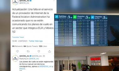 """""""Demoras Mínimas"""" en vuelos se debe a falla en EE.  UU: AICM"""