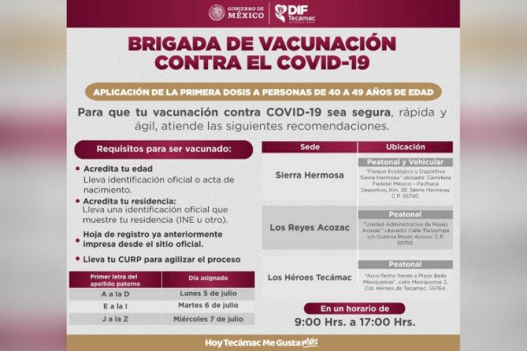 Arranca vacunación anticovid de personas mayores de 40 años en Tecámac