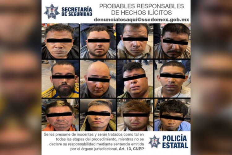 Aseguran a 12 miembros de banda dedicada al robo de autos en Tecámac