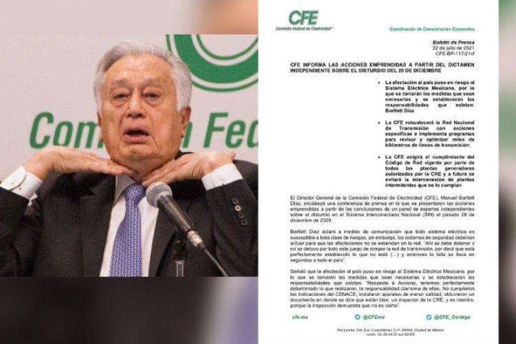 C.F.E reconoce culpabilidad en apagón masivo de diciembre