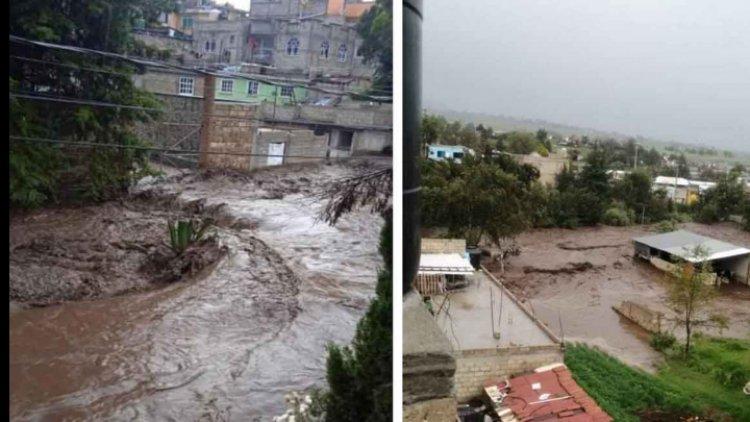 Se desborda Río Tejalpa, en Zinacantepec; hay afectaciones en viviendas y cultivos