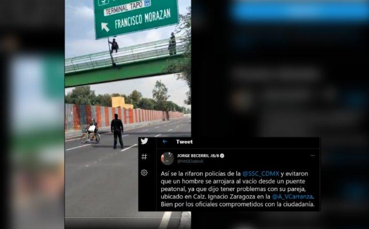 Por desamor, joven intenta arrojarse de puente en Calz. Ignacio Zaragoza