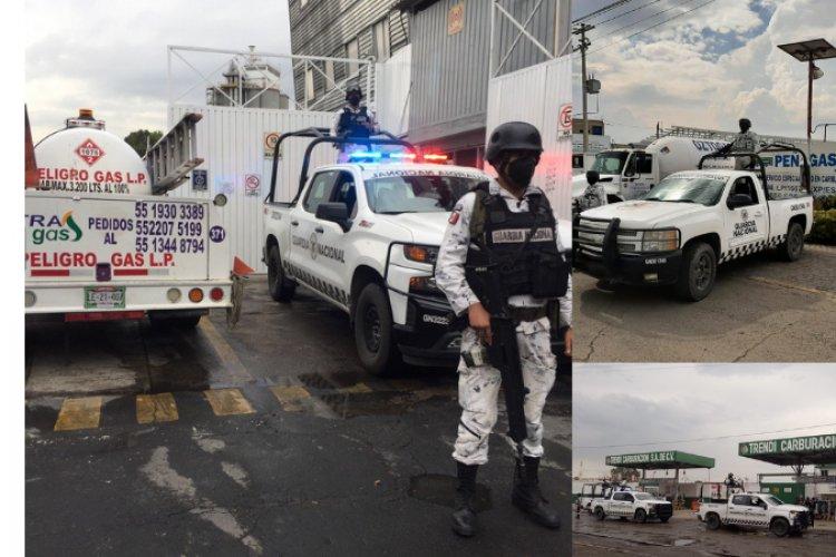 Resguardan elementos de la Guardia Nacional gaseras del valle de México
