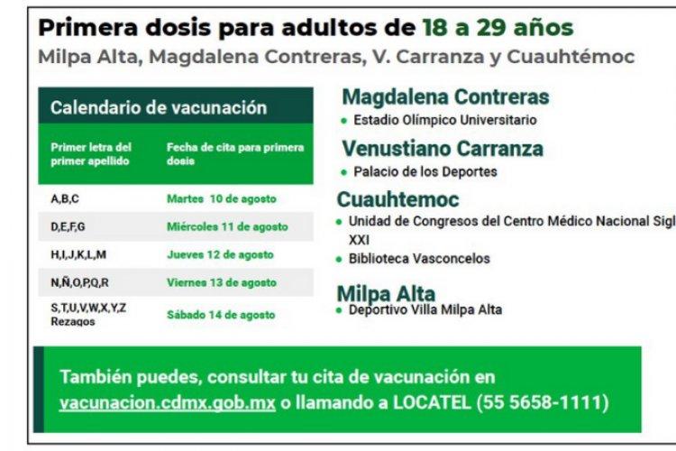 Alistan vacunación para mayores de 18 años en cuatro alcaldías de la CDMX