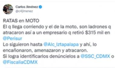 Graban robo de 315 mil pesos en Iztapalapa