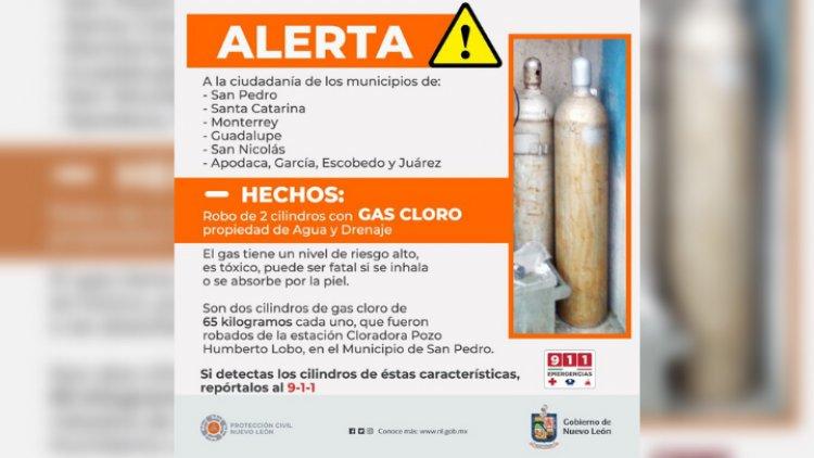 Roban cilindros de gas cloro en Nuevo León